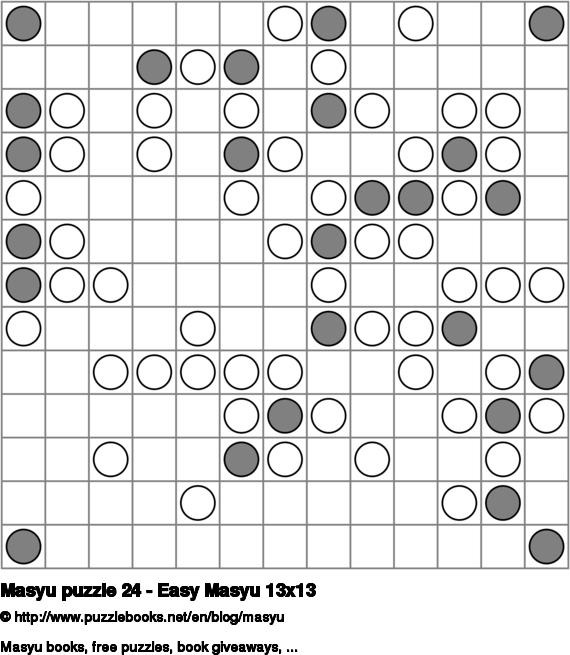 Masyu puzzle 24 - Easy Masyu 13x13