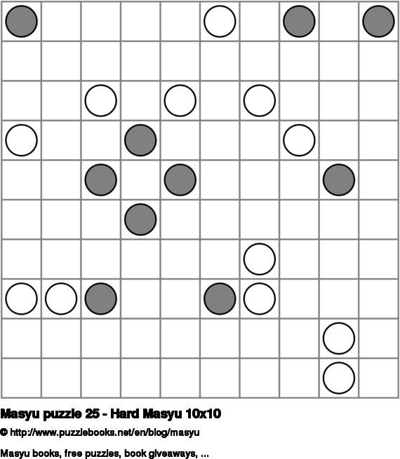 Masyu puzzle 25 - Hard Masyu 10x10