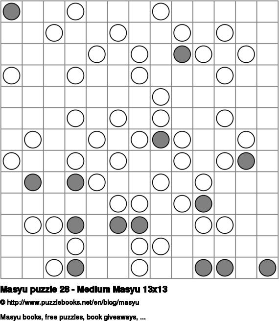 Masyu puzzle 28 - Medium Masyu 13x13