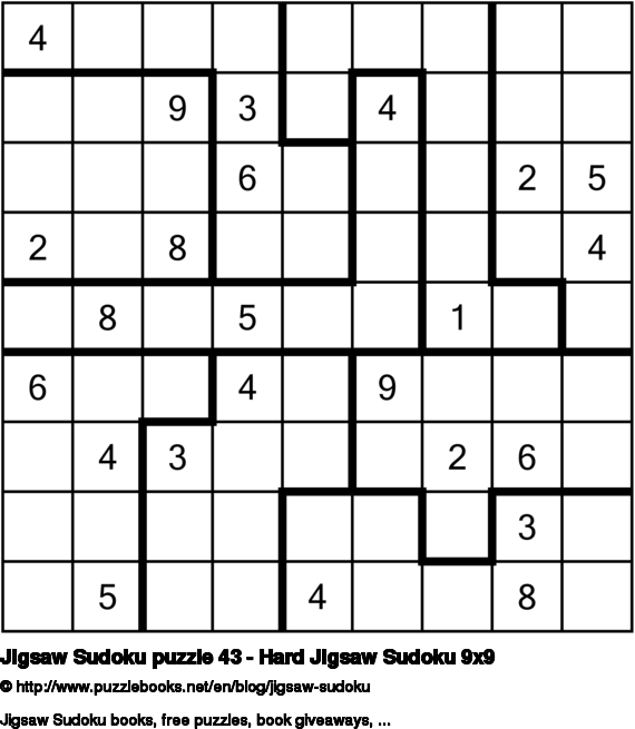 Jigsaw Sudoku puzzle 43 - Hard Jigsaw Sudoku 9x9
