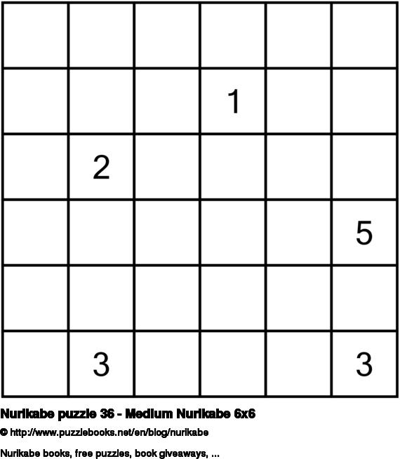 Nurikabe puzzle 36 - Medium Nurikabe 6x6