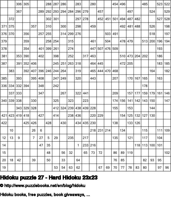 Hidoku puzzle 27 - Hard Hidoku 23x23
