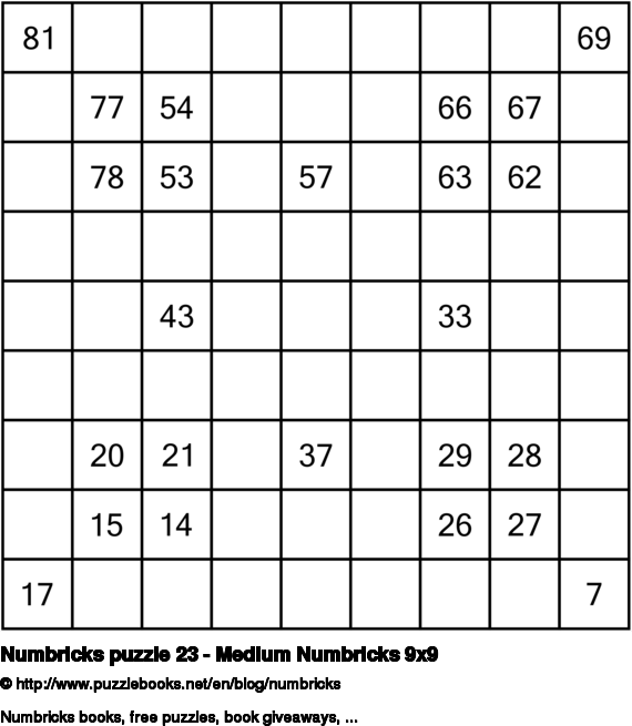 Numbricks puzzle 23 - Medium Numbricks 9x9