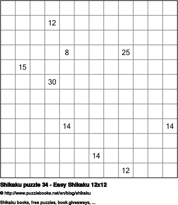 Shikaku puzzle 34 - Easy Shikaku 12x12