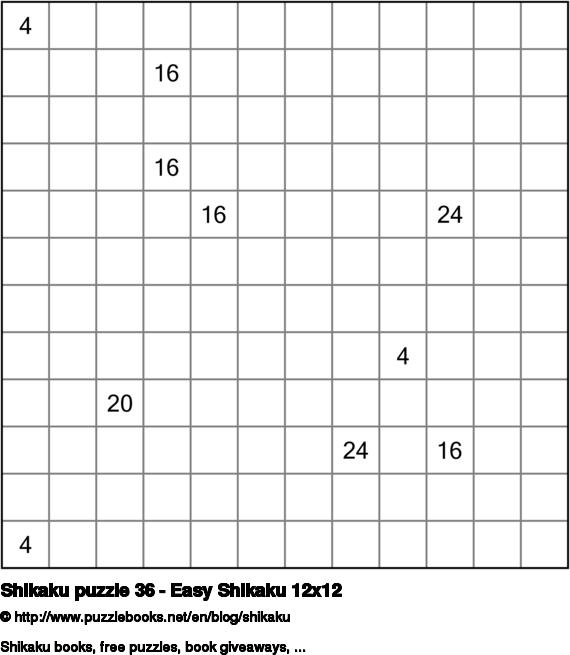 Shikaku puzzle 36 - Easy Shikaku 12x12