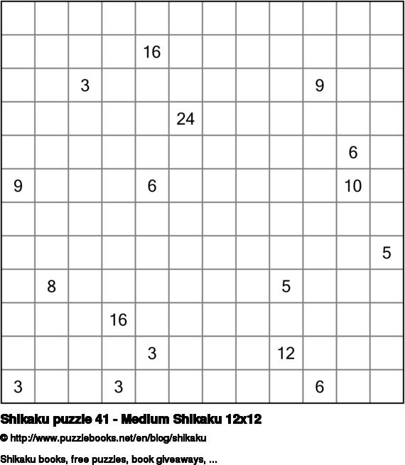 Shikaku puzzle 41 - Medium Shikaku 12x12