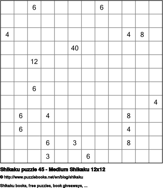 Shikaku puzzle 45 - Medium Shikaku 12x12
