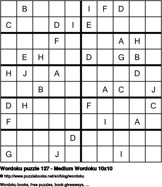 Wordoku puzzle 127 - Medium Wordoku 10x10