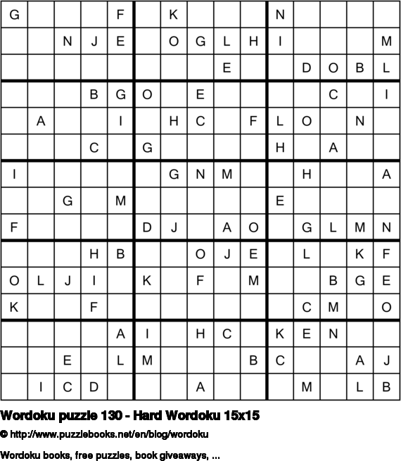Wordoku puzzle 130 - Hard Wordoku 15x15