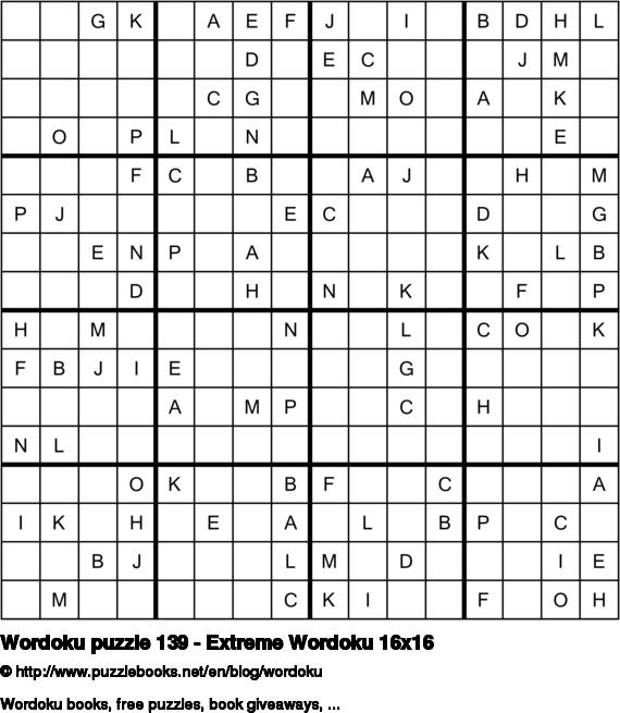 Wordoku puzzle 139 - Extreme Wordoku 16x16