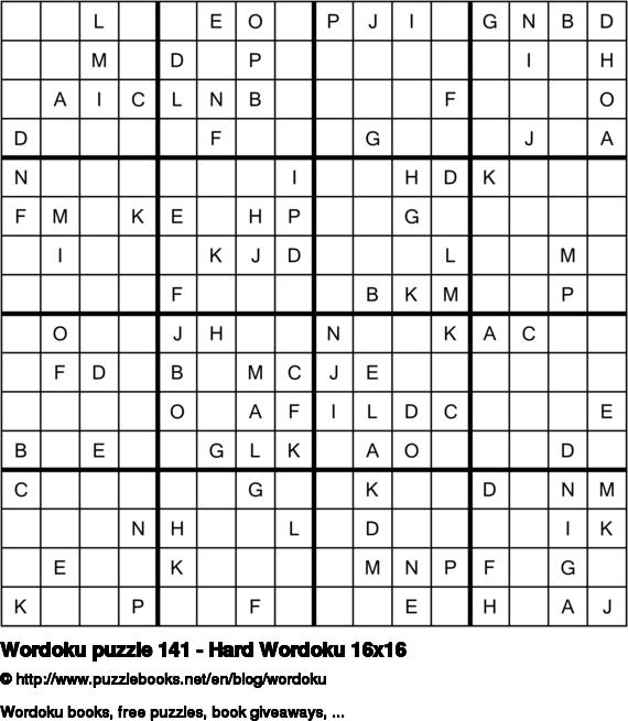Wordoku puzzle 141 - Hard Wordoku 16x16