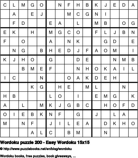 Wordoku puzzle 200 - Easy Wordoku 15x15