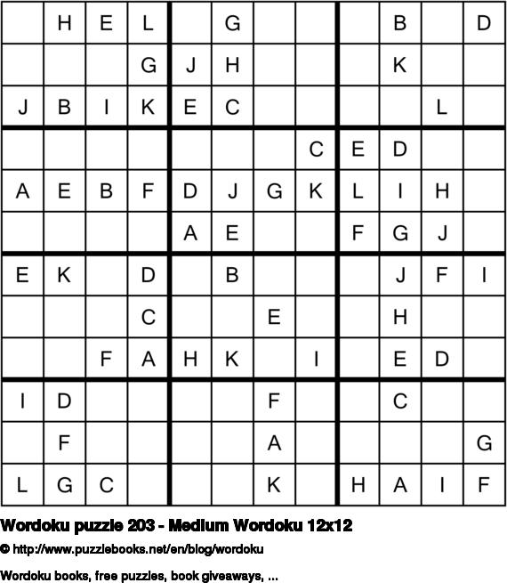Wordoku puzzle 203 - Medium Wordoku 12x12