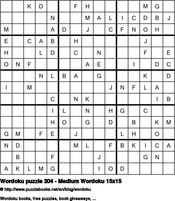 Wordoku puzzle 204 - Medium Wordoku 15x15