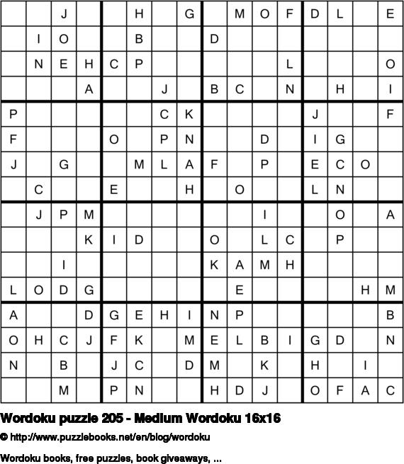 Wordoku puzzle 205 - Medium Wordoku 16x16
