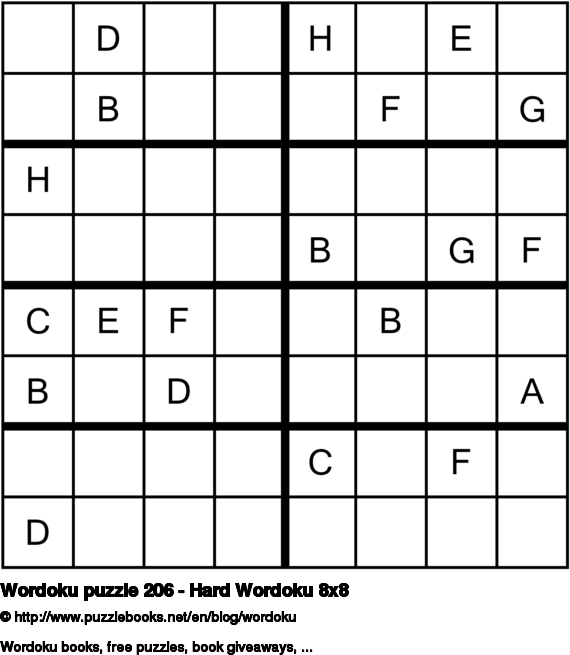 Wordoku puzzle 206 - Hard Wordoku 8x8