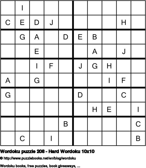 Wordoku puzzle 208 - Hard Wordoku 10x10
