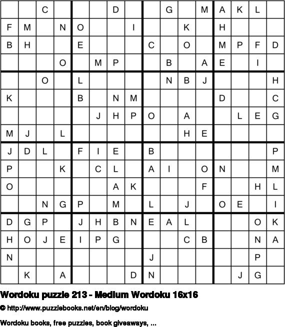 Wordoku puzzle 213 - Medium Wordoku 16x16