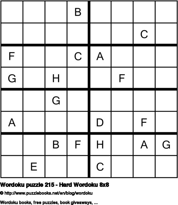 Wordoku puzzle 215 - Hard Wordoku 8x8