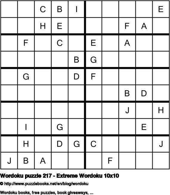 Wordoku puzzle 217 - Extreme Wordoku 10x10