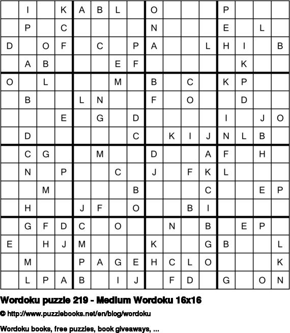 Wordoku puzzle 219 - Medium Wordoku 16x16
