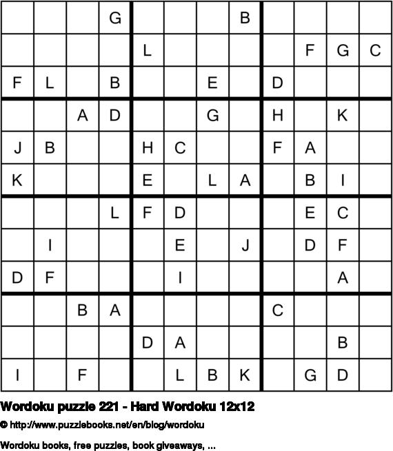 Wordoku puzzle 221 - Hard Wordoku 12x12