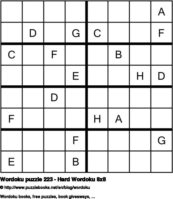 Wordoku puzzle 223 - Hard Wordoku 8x8