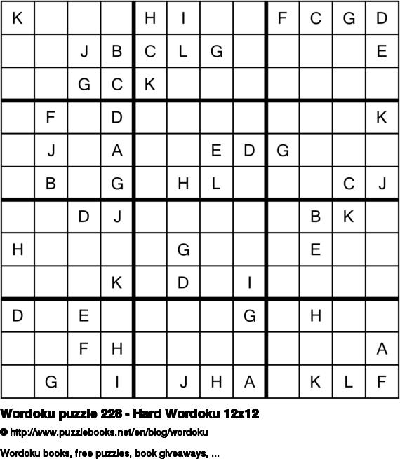 Wordoku puzzle 228 - Hard Wordoku 12x12