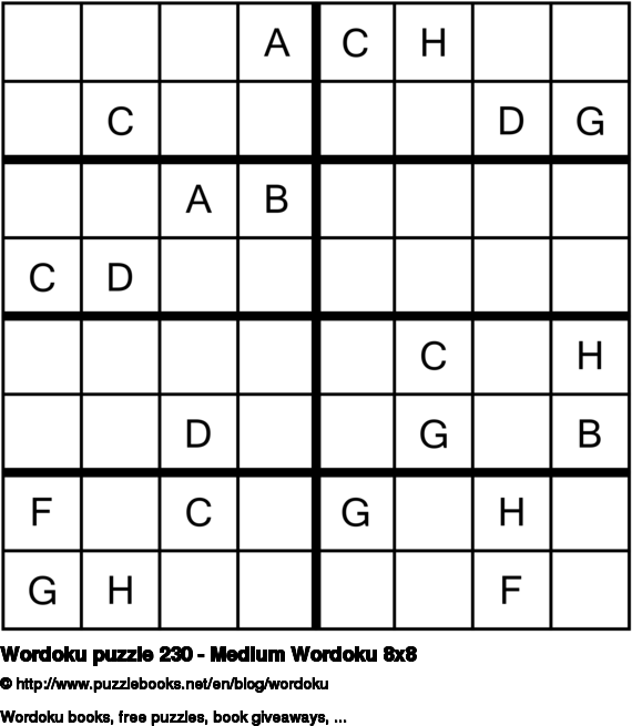 Wordoku puzzle 230 - Medium Wordoku 8x8