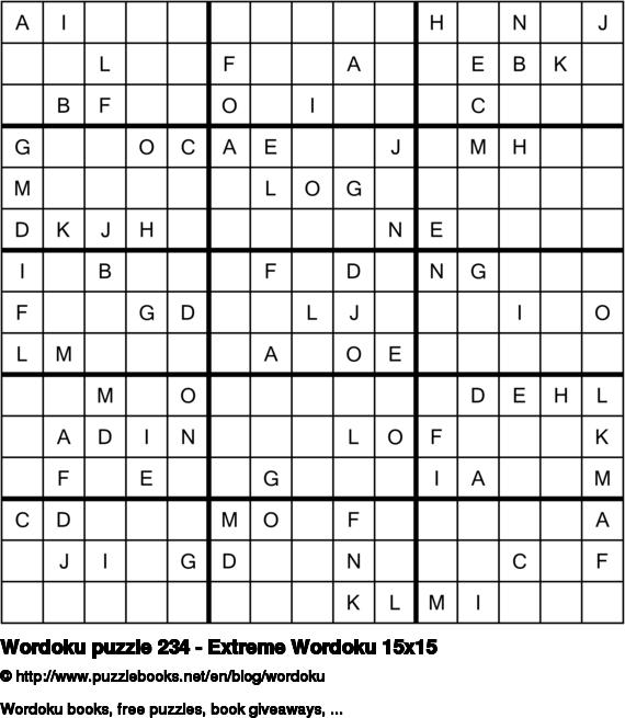 Wordoku puzzle 234 - Extreme Wordoku 15x15