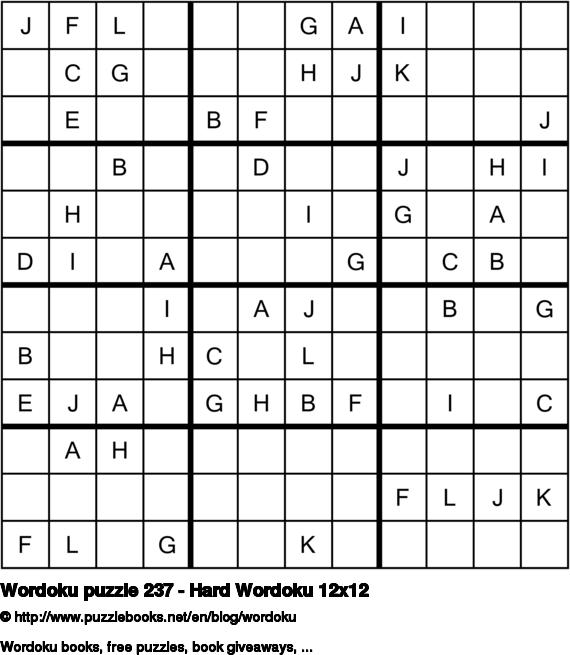 Wordoku puzzle 237 - Hard Wordoku 12x12