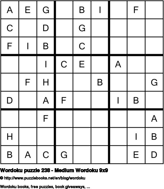 Wordoku puzzle 238 - Medium Wordoku 9x9