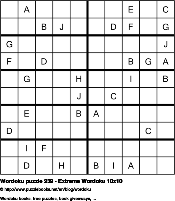 Wordoku puzzle 239 - Extreme Wordoku 10x10