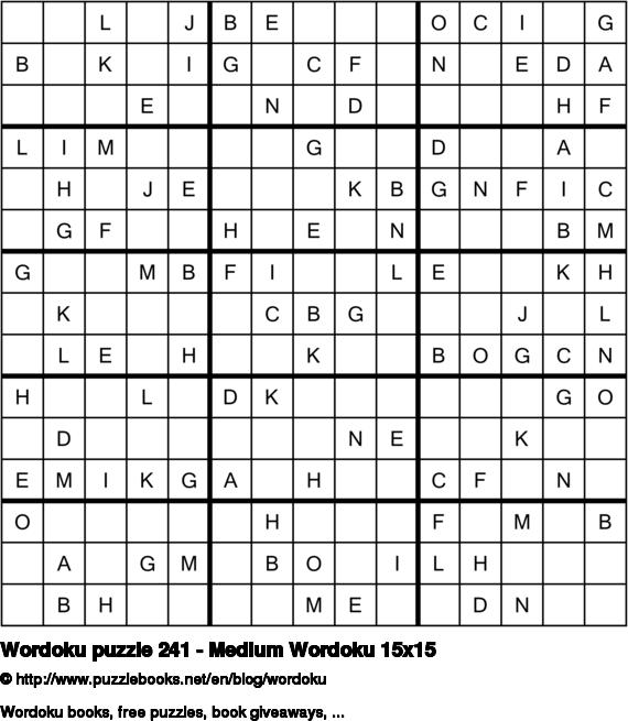 Wordoku puzzle 241 - Medium Wordoku 15x15
