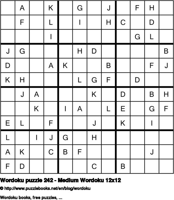 Wordoku puzzle 242 - Medium Wordoku 12x12