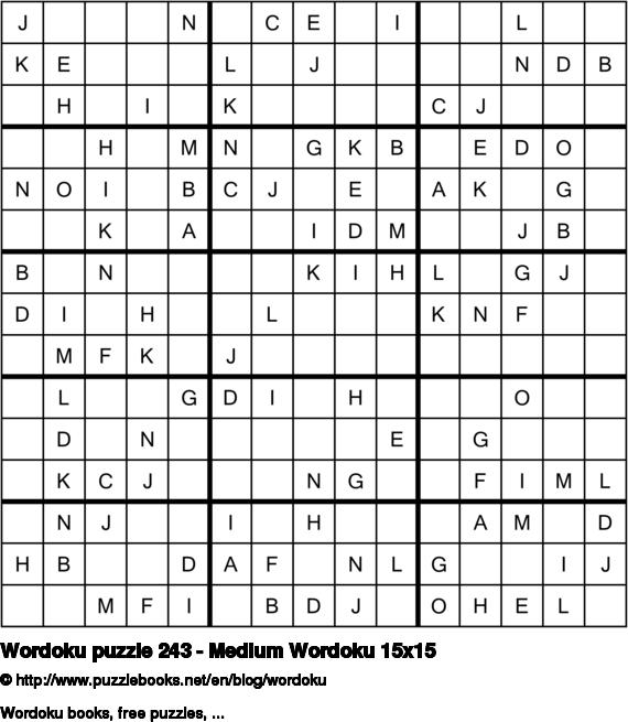 Wordoku puzzle 243 - Medium Wordoku 15x15