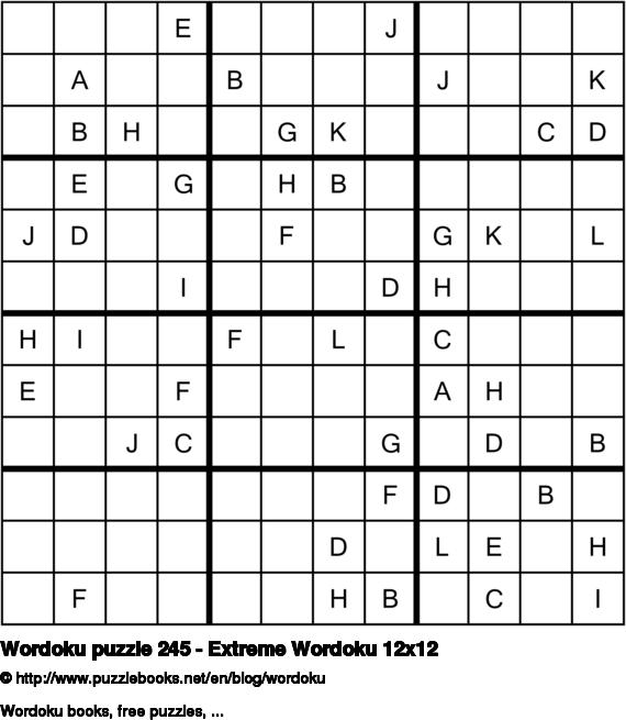 Wordoku puzzle 245 - Extreme Wordoku 12x12