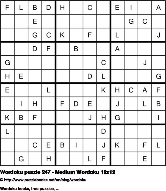 Wordoku puzzle 247 - Medium Wordoku 12x12