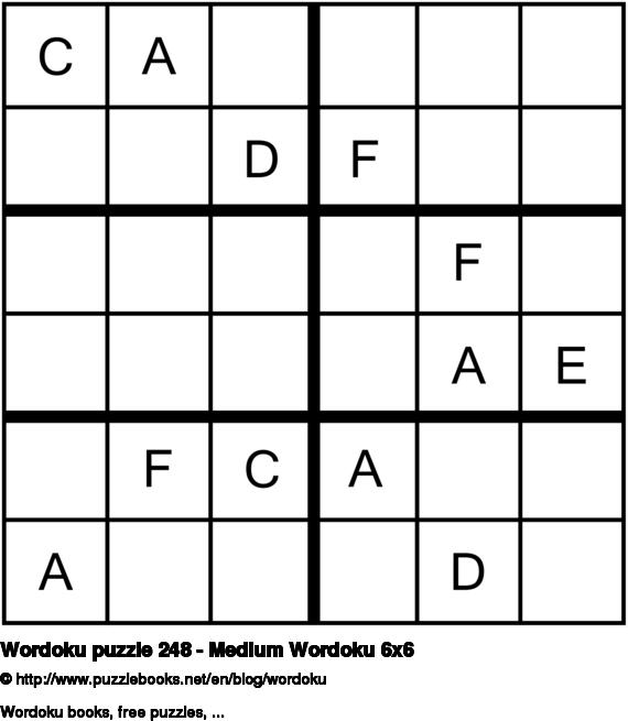 Wordoku puzzle 248 - Medium Wordoku 6x6