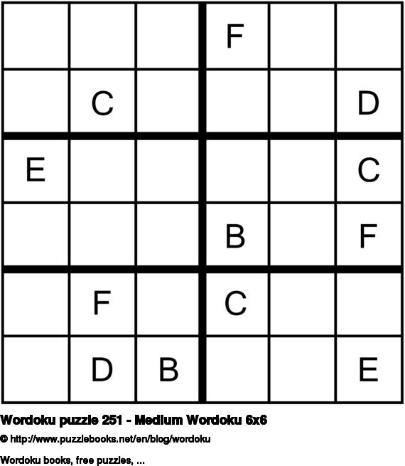 Wordoku puzzle 251 - Medium Wordoku 6x6