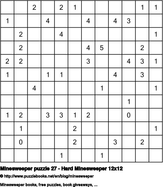 Minesweeper puzzle 27 - Hard Minesweeper 12x12