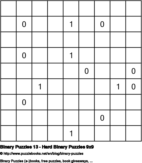Binary Puzzles 13 - Hard Binary Puzzles 9x9