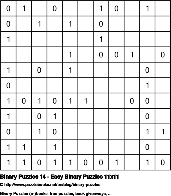 Binary Puzzles 14 - Easy Binary Puzzles 11x11