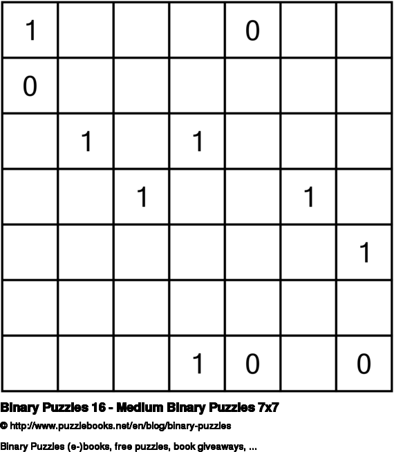 Binary Puzzles 16 - Medium Binary Puzzles 7x7