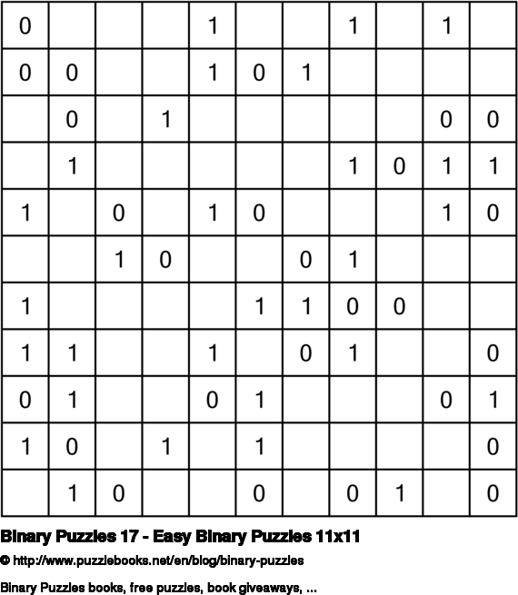 Binary Puzzles 17 - Easy Binary Puzzles 11x11