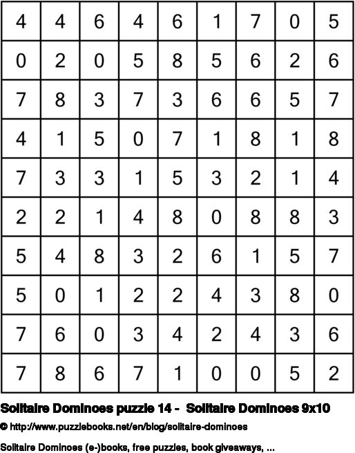 Solitaire Dominoes puzzle 14 -  Solitaire Dominoes 9x10