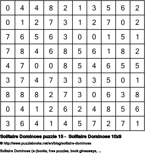 Solitaire Dominoes puzzle 15 -  Solitaire Dominoes 10x9