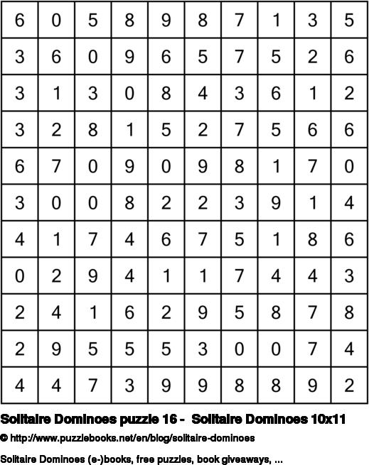 Solitaire Dominoes puzzle 16 -  Solitaire Dominoes 10x11