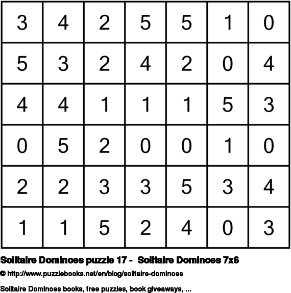 Solitaire Dominoes puzzle 17 -  Solitaire Dominoes 7x6