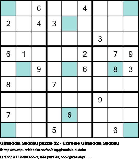Girandola Sudoku puzzle 32 - Extreme Girandola Sudoku